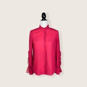 NWOT Zara Fuschia Ruffle Sleeve Mandarin Shirt XS